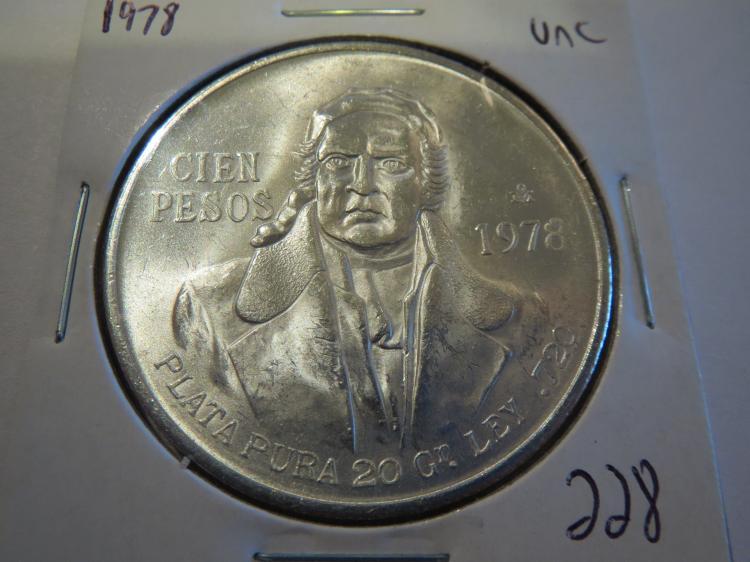 1978 Mexico Cien 100 Pesos Silver - UNC