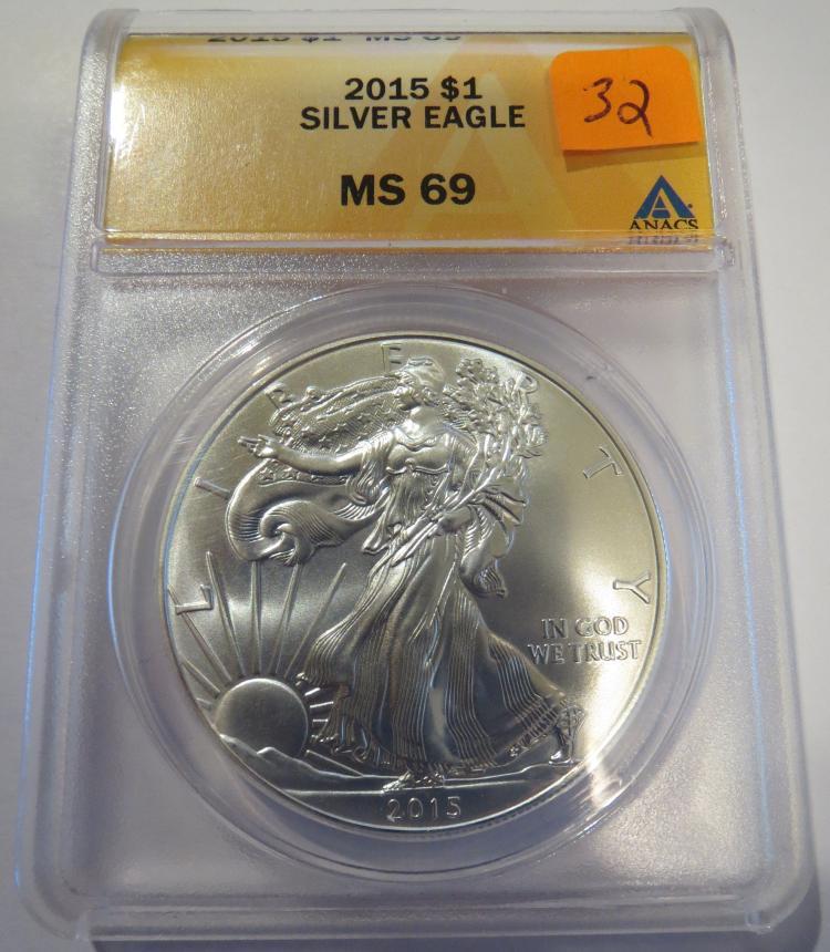 2015 American Silver Eagle - ANACS MS69