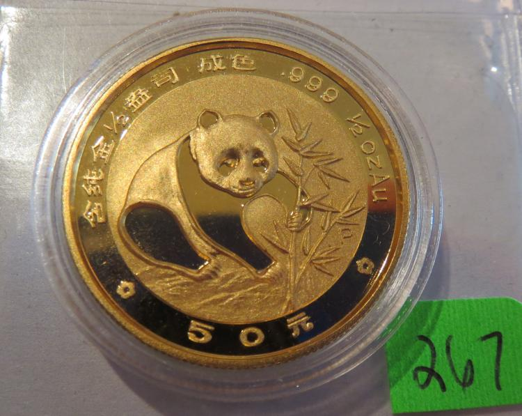 1988 China 1/2 oz .999 Gold Panda