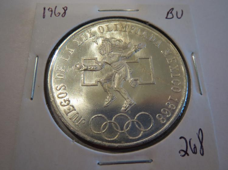 1968 Mexico 25 Pesos Olympic Silver - BU