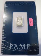 1 Gram Pamp Suisse .9995 Palladium Bar Fortuna In Assay