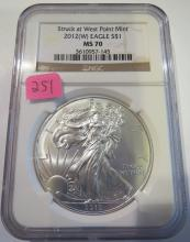 2012(W) American Silver Eagle - NGC MS70 Struck at West Point Mint