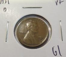 1931D Lincoln Wheat Penny - VF