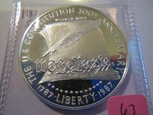 1987S US Constitution Silver Commemorative Dollar - Proof