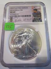 2014 American Silver Eagle - NGC MS69 MLB Players Edition