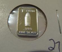Bullet 1 Gram .999 Silver