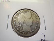 1915 Barber Quarter  - rim bump