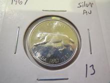 1967 Canada Silver Quarter - AU