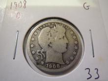 1908D Barber Silver Quarter