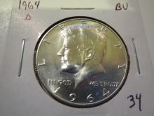 1964D Kennedy Silver Half Dollar - BU