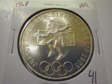 1968 Mexico 25 Pesos Olympic Silver - UNC