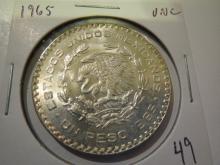 1965 Mexico Un One Peso Silver - UNC