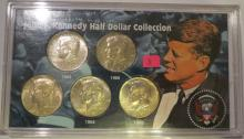 Kennedy 40% Silver Half Dollar Collection: 1965, 1966, 1967, 1968D & 1969D