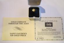 Double Eagle 22Kt Gold .9 Grams Round w/Box & Coa