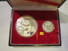 1987 China 1 oz & 5 oz .999 Fine Silver Panda - w/Box