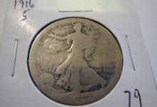 1916S Walking Liberty Half Dollar - semi key