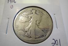 1916D Walking Liberty Half Dollar - better date