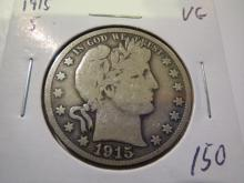 1915S Barber Half Dollar  - VG