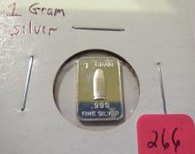 1 Gram Bullet .999 Silver Bar