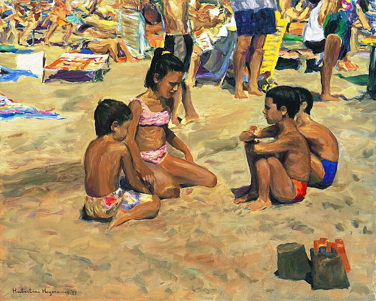 Hubertine Heijermans (1936), at the beach, Spain
