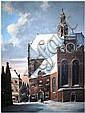 Jacobus Lambertus Dispo (1890 - 1964), city view with church in winter, Jacobus Lambertus Dispo, Click for value