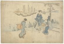 Shunko II Katsukawa, Tea House, Japanese Woodblock Print