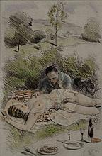 Paul Emile Becat (1885-1960).Douze pointes sèches encadrées originales sur vélin d'Arche représentant des scènes érotiques. 26 X 18 cm.