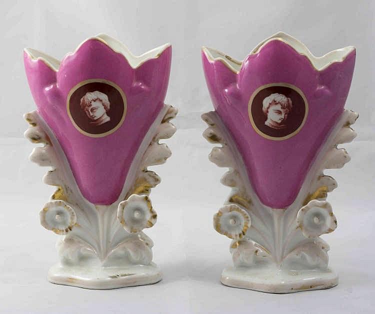 Paire De Vases De Mari E En Porcelaine Blanche Et Rose D C