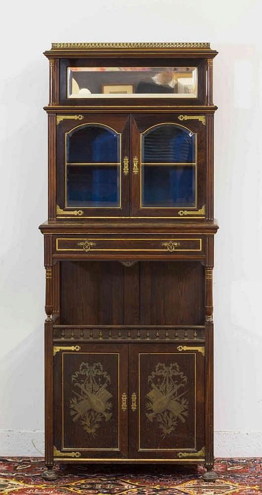 Petit meuble vitrine en bois de placage la partie sup rieur for Petit meuble bois brut