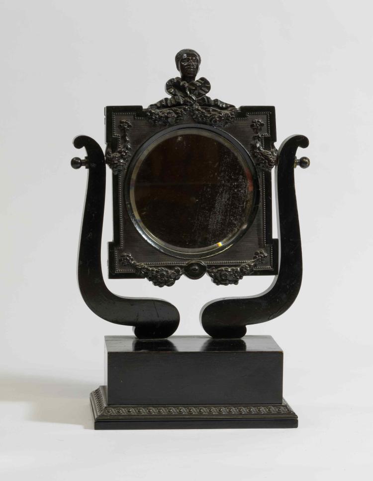 Psyché de table en bois noirci à miroir carré