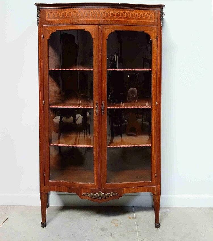 Vitrine de forme galb e en bois de placage ouv - Model vitrine en bois ...