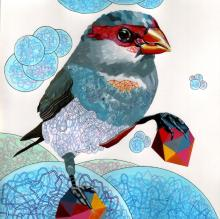 Drawing on Paper by Juan Travieso - Endangered Bird #72a