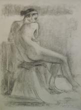 Morgan no. 9 - Original Charcoal & Conte on Paper by Joseph Adolphe