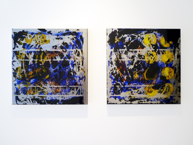 Yellow Grid #1 and Blue Grid #2 by Jorge Enrique - Mixed Media Abstract Diptych