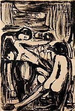"""Melzer, Moriz Zwei weibliche Akte. Tuschpinsel in Schwarz und Sepia auf Pergamin. 67 x 46 cm. Zweifach signiert und mit """"Paris"""" bezeichnet. - Unter Passepartout. Die Blattkanten altersbedingt minimal nachgedunkelt."""