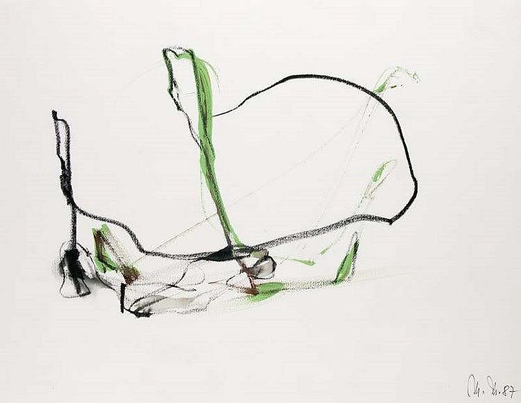 Matschinsky, Martin Abstrakte Komposition. 1987. Mischtechnik auf genarbtem Karton. 42 x 56 cm. Monogrammiert und datiert. - Verso mit Rückständen alter Montierung und Atelierspuren.