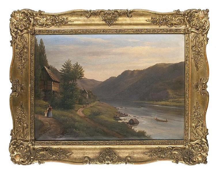 Sparmann, Carl Christian Blick in ein Flusstal. 1849. Öl auf Leinwand. 62 x 43 cm. Signiert, datiert. - Dekorativ gerahmt. Leicht craqueliert.