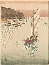 Berndt, Siegfried Auf der Reede I. (1911). Farbholzschnitt auf feinem rosé-farbenem Japan. 25,9 x 19,6 cm (28,5 x 20,6 cm). Im Stock monogrammiert. - An der oberen Blattkante auf Unterlage und unter Passepartout montiert.