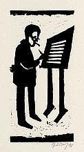 Sandberg, Herbert Erinnerungen an Bertolt Brecht. Mappe mit 5 Holzschnitten zgl. Titelholzschnitt auf handgeschöpftem Bütten. 1978. Folio. OPp-Flügelmappe.