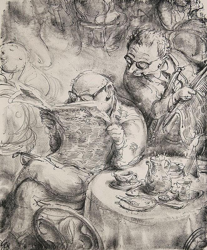 Weber, A. Paul  Das Allerneueste. 1970. Lithographie. 42,3 x 34 cm. Signiert und mit dem Künstlerstempel versehen.