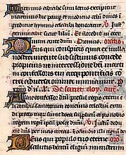 Stundenbuchblatt auf Pergament mit 7 goldgehöhten