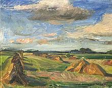 Sejg, Johan Landschaft mit Heuhaufen. Öl auf