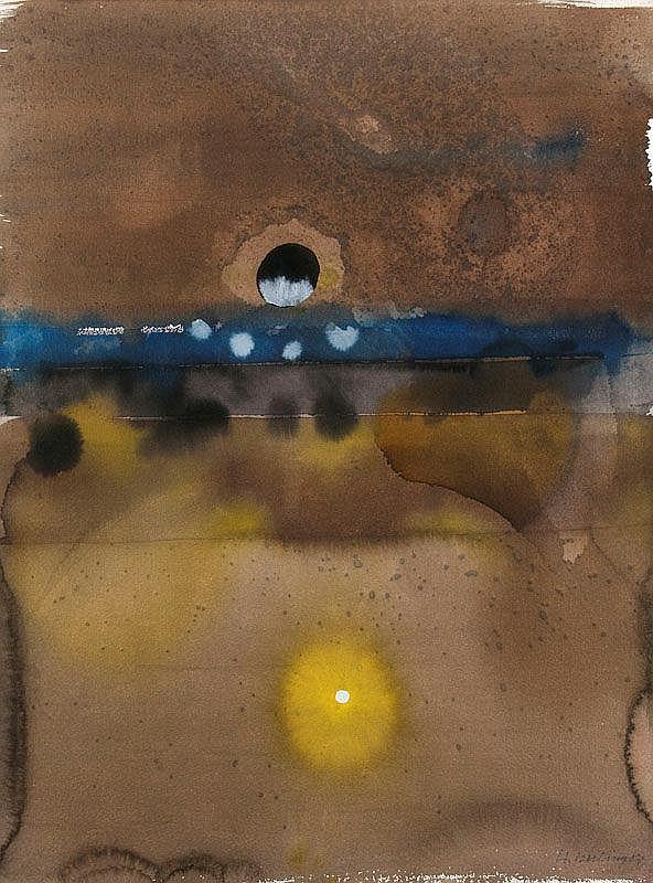 Kiessling, Heinz o.T. (Kosmische Impression). 1987. Mischtechnik auf festem Fabriano-Aquarellkarton. 75 x 57,5 cm. Signiert und datiert. An den unteren Ecken verso mit Papierrückständen der früheren Montierung. - Abgebildet in: Heinz Kiessling.
