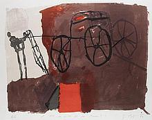 Mackensen, Gerd Für wen zieht Ihr den Karren/Na also da!. Konvolut aus 3 Werken. 1989. 2 Farblithographien, 1 Linolschnitt auf verschiedenen Papieren. Blattmaße von 55 x 39 cm bis 54 x 68,5 cm. Je signiert, nummeriert u. datiert, 2 Blatt betitelt.