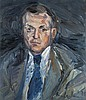 Ladwig, Roland  Selbstportrait. 1975. Öl auf Leinwand. 65 x 55 cm. Im unteren rechten Bildbereich signiert u. datiert. In Schattenfugenrahmen., Roland Ladwig, Click for value