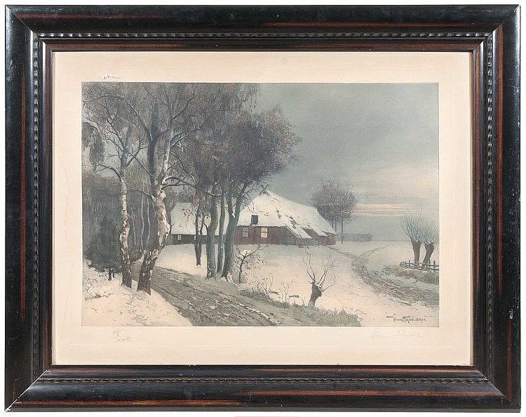Thiele, Hermann  Winterlandschaft. Farbaquatintaradierung auf chamoisfarbnem Papier. 57 x 83 cm