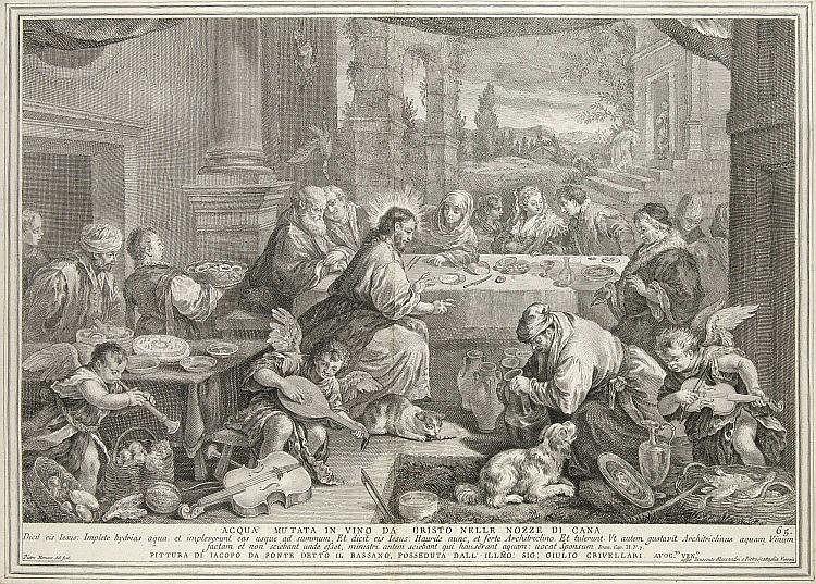 Monaco, Pietro  Christus verwandelt Wasser in Wein. Kupferstich nach Jacob Bassano. Um 1750. Pla