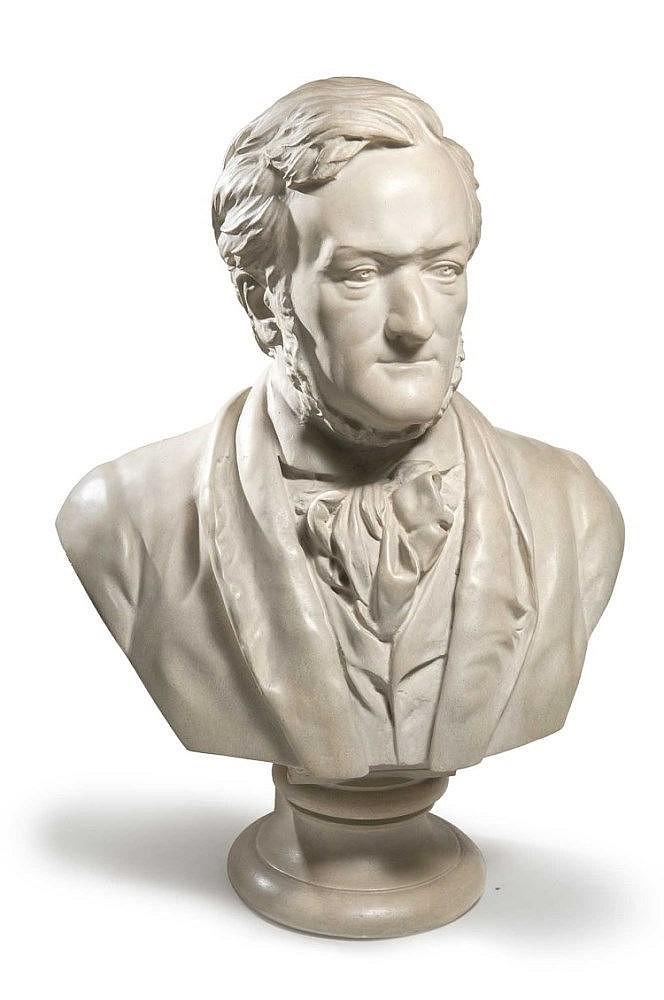Richard Wagner. Bemalte Gipsbüste nach dem Original der Sammlung Zumbusch von 1864. (Berlin,