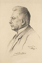 Zirges, Willy Seitenporträt von Joseph Brucker. 1913. Kohlezeichnung auf Karton. 48 x 33 cm. Si