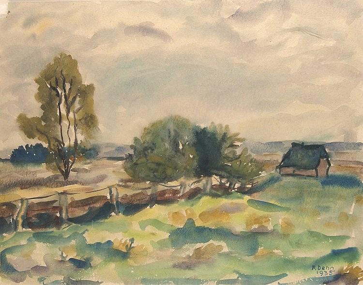 Dehn, Fritz  Landschaft bei Bernau. 1935. Aquarell auf Bütten. Signiert